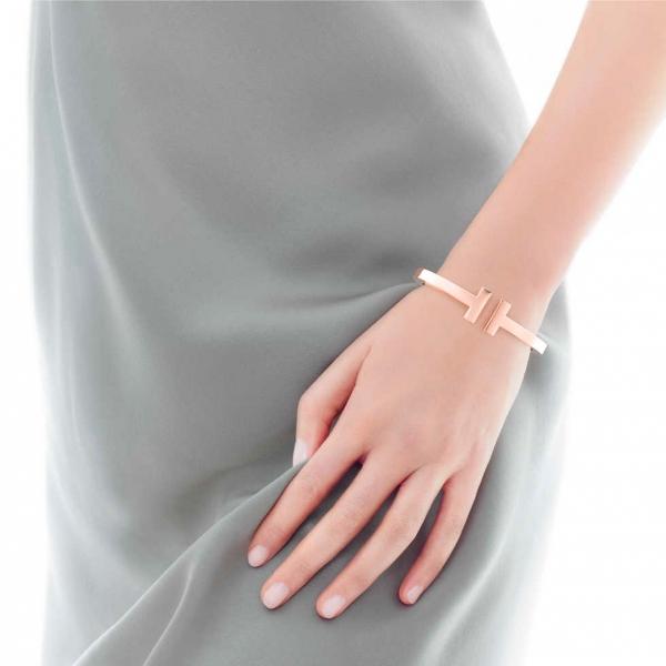 Браслет Tiffany T Square, розовое золото (33263457)