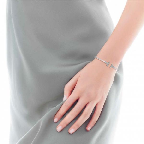 Браслет Tiffany T Wire, белое золото, бриллианты (33263473)