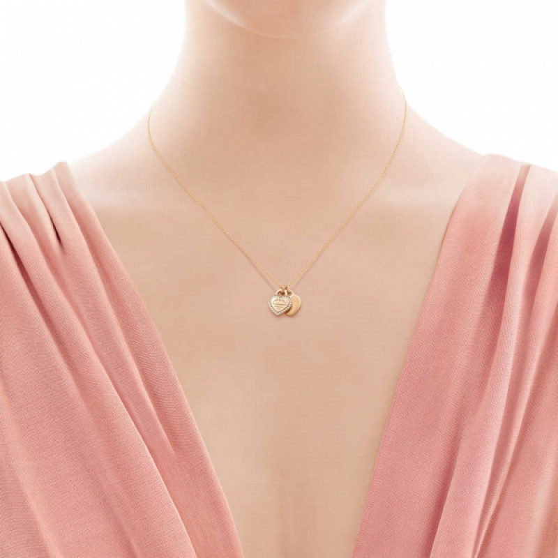 Двойная подвеска-жетон в форме сердца Return to Tiffany, розовое золото, бриллинаты (28751257)