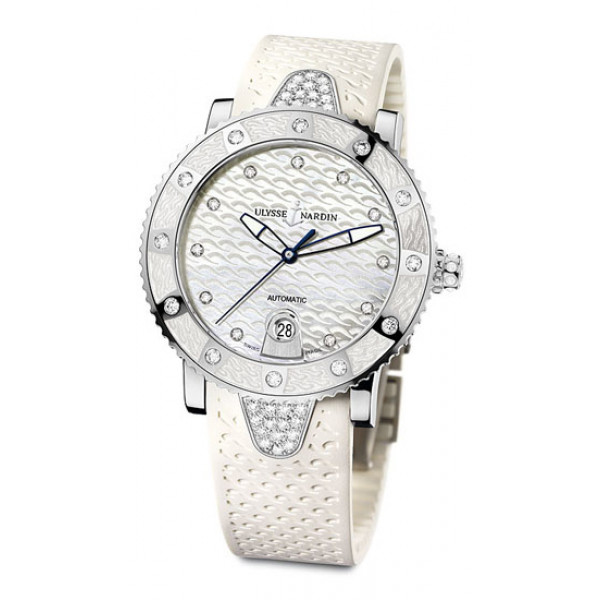 Ulysse Nardin watches Lady Diver (Steel-Diamonds / White / Rubber)