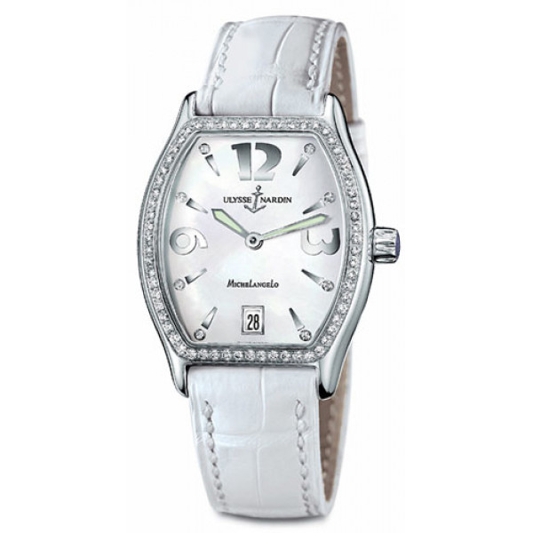 Ulysse Nardin watches Michelangelo Midsize (SS / White / Diamonds / Leather)
