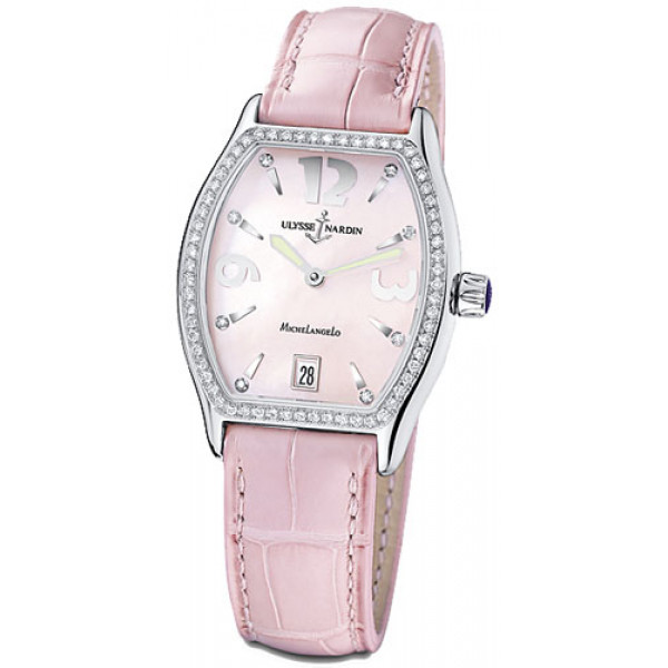 Ulysse Nardin watches Michelangelo Midsize (SS / Pink / Diamonds / Leather)