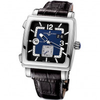 Ulysse Nardin watches Quadrato Dual Time (Steel / Black / Leather)