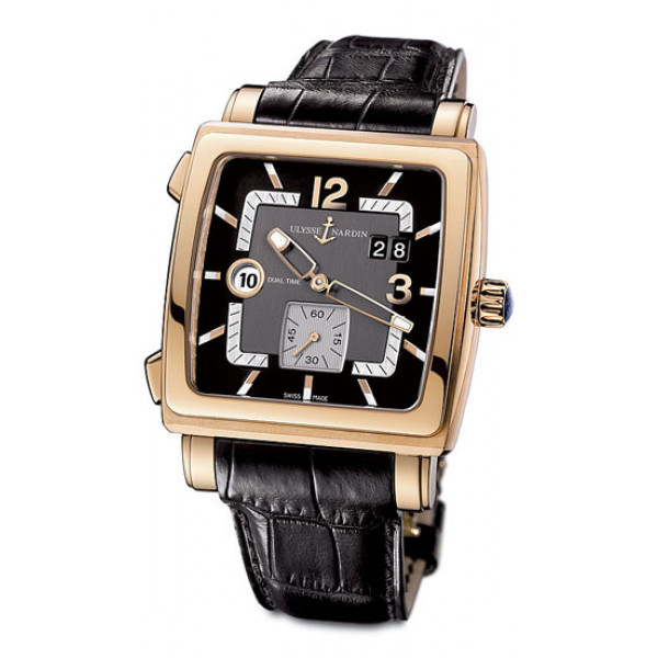 Ulysse Nardin watches Quadrato Dual Time (RG / Black / Leather)