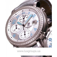 Audemars Piguet watches Millenary Ladies Chronograph (SS-Diamonds / Silver-Blue / Leather)