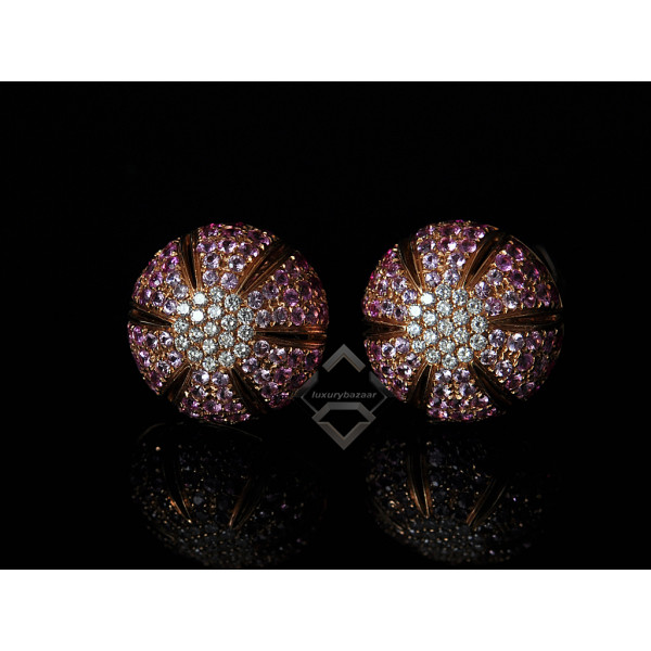 Damiani Damiani 18K Rose Gold Micro Pave Diamond and Pink Sapphire Earrings