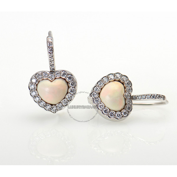 Dior 18K White Gold Diamond & Opal Heart Earrings
