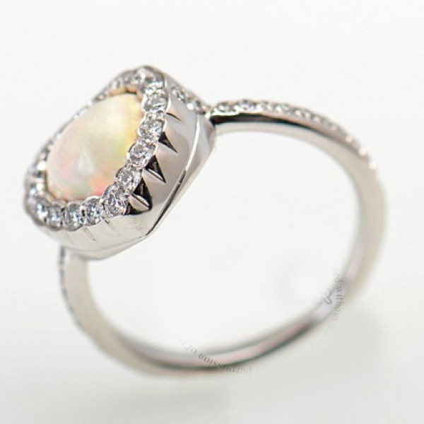 Dior 18K White Gold Diamond & Opal Heart Ring