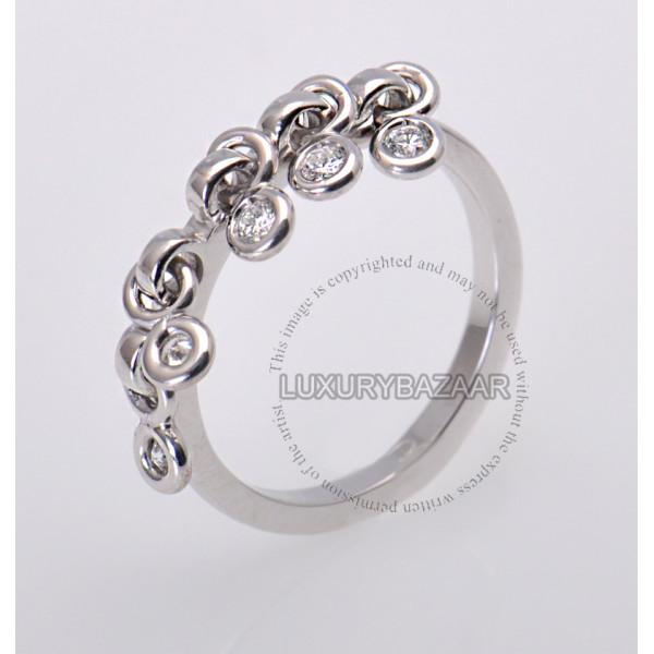 Dior 18K White Gold Diamond Dangle Ring