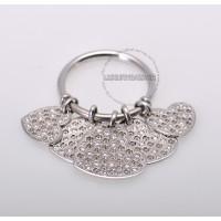 Dior 18K White Gold Diamond Hearts Dangle Ring