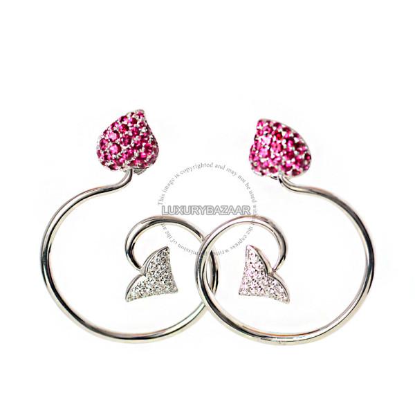 Dior 18K White Gold Diamond Ruby Earrings