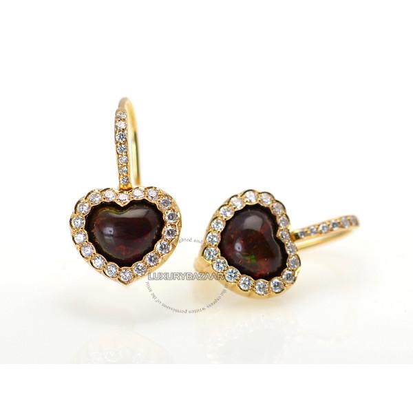 Dior 18K Yellow Gold Diamond & Rhodesian Garnet Heart Earrings