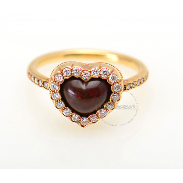 Dior 18K Yellow Gold Diamond & Rhodesian Garnet Heart Ring