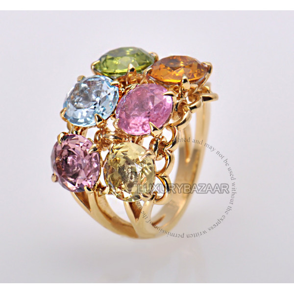 Dior 18K Yellow Gold Gemstone Cocktail Ring