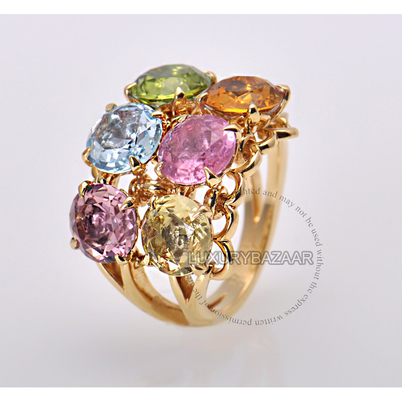 Dior 18K Yellow Gold Gemstone Cocktail Ring