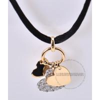 Dior 18K Yellow White Gold Diamond Heart Necklace