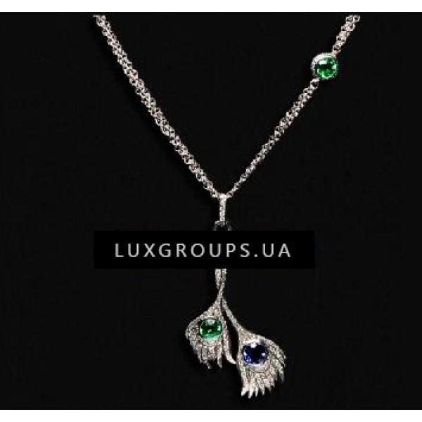 Колье Carrera y Carrera Peacock 18K White Gold Carnaval Necklace with Green Tourmaline Iolite and Diamonds