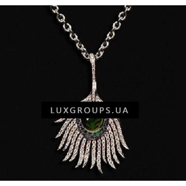 Подвеска Carrera y Carrera Peacock 18K White Gold Maxi Carnaval Necklace with Iolite Sapphires Tsavorite Garnets and Diamonds