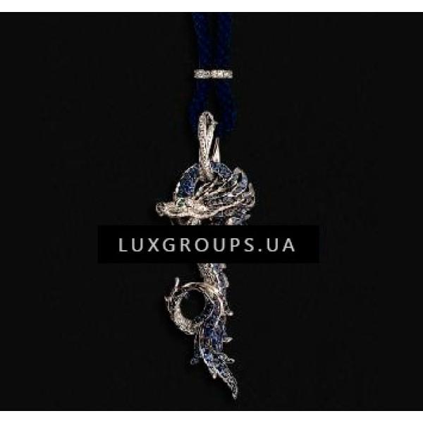Подвеска Carrera y Carrera Circulos De Fuego 18K White Gold Maxi Dragons Necklace with Blue Sapphires and Emeralds
