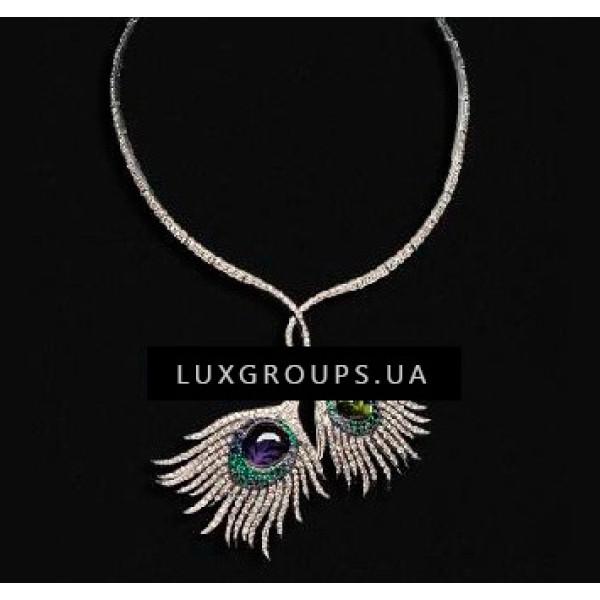 Колье Carrera y Carrera Peacock 18K White Gold Rio Necklace with Tourmaline Iolite Blue Sapphires Tsavorite Garnets and Diamonds
