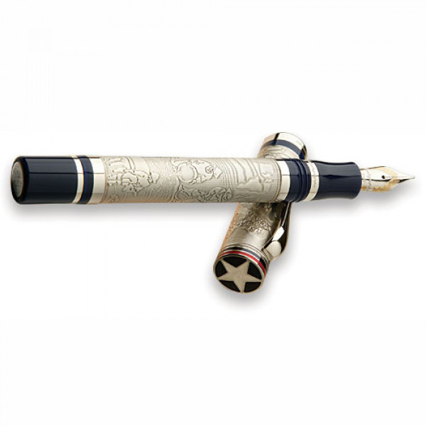 Автоматическая ручка Montegrappa Cosmopolitan 1849 E-W Limited Edition - Sterling Silver and Blue Fountain Pen