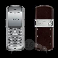 Vertu Constellation Матовая сталь, коричневая кожа
