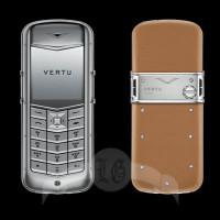 Vertu Constellation Матовая сталь, св.-коричневая кожа