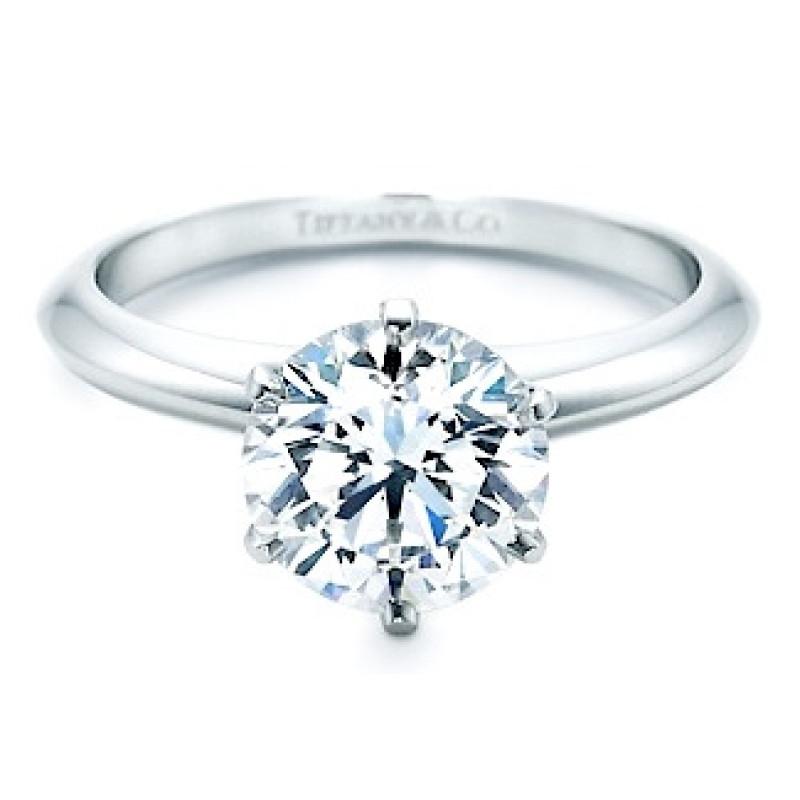 Кольцо Tiffany, белое золото 750 с бриллиантом