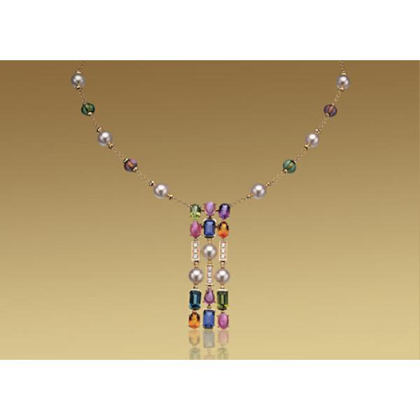 Ожерелье Bulgari Allegra, желтое золото, бриллианты, разноцветные камни