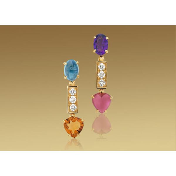 Серьги Bulgari Allegra, желтое золото, бриллианты, разноцветные камни
