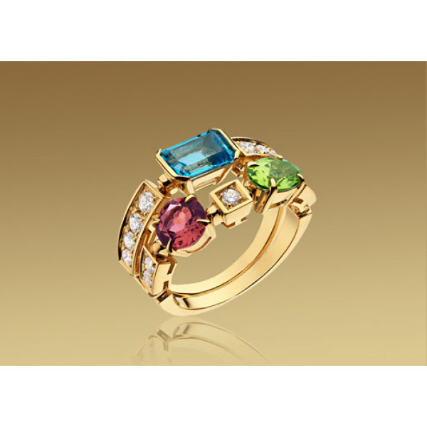 Кольцо Bulgari Allegra желтое золото, бриллианты, драг. камни