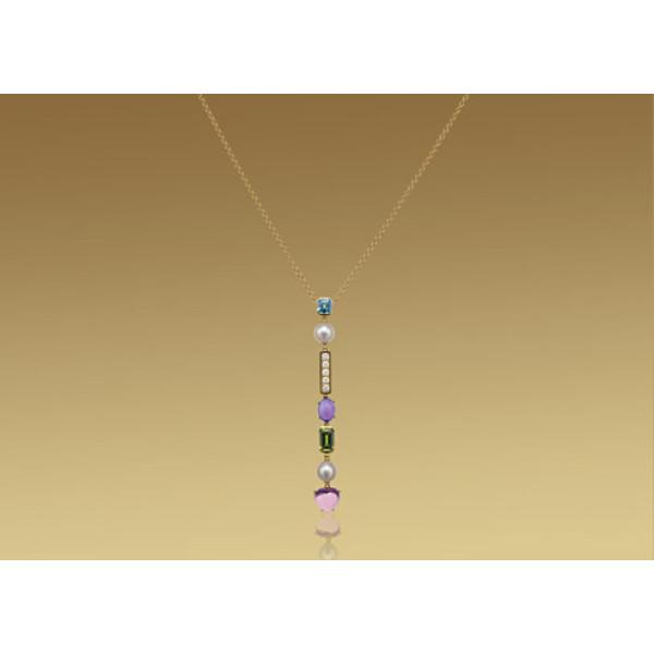Ожерелье Bulgari Allegra, желтое золото, бриллианты, разноцветные драг. камни