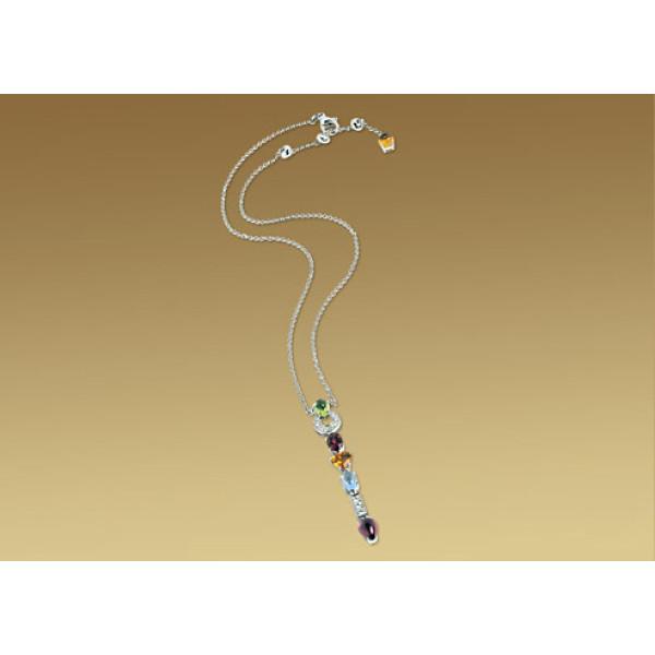 Ожерелье Bulgari Allegra, белое золото, бриллианты, драг. камни