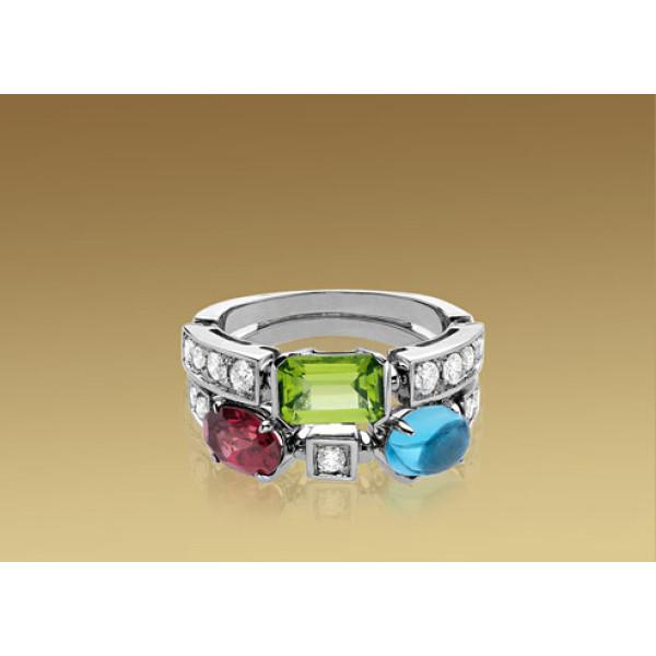 Кольцо Bulgari Allegra, белое золото, бриллианты, разноцветные камни