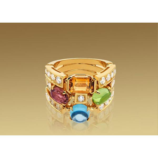 Кольцо Bulgari Allegra, желтое золото, бриллианты, разноцветные камни