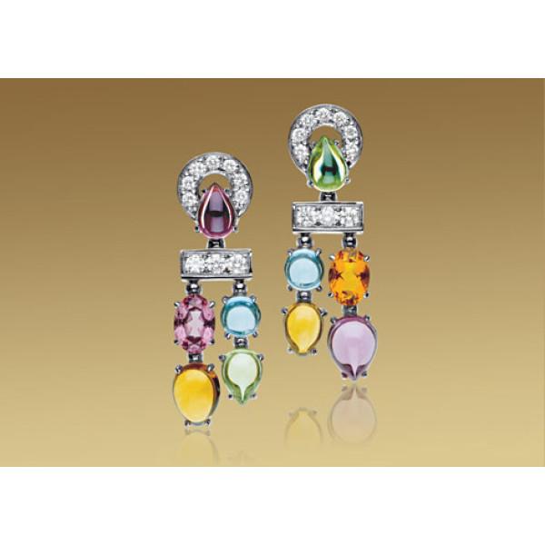 Серьги Bulgari Allegra, белое золото, бриллианты, разноцветные камни