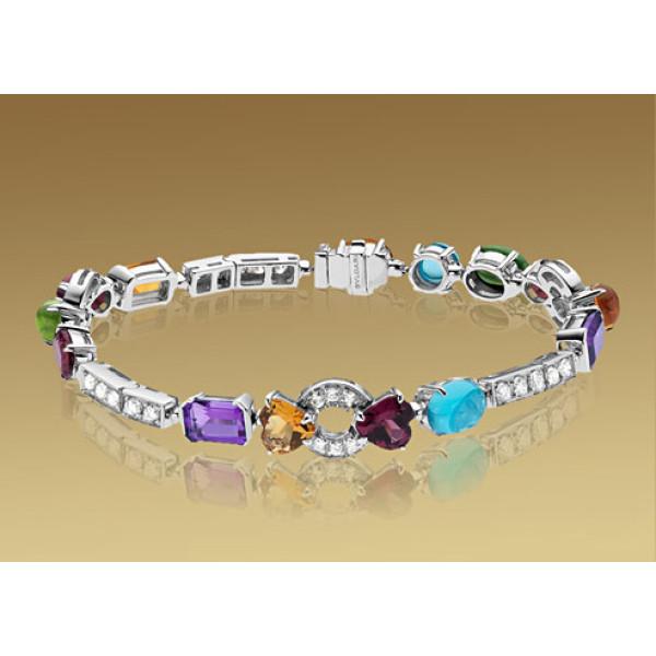 Браслет Bulgari Allegra, белое золото, бриллианты, разноцветные камни