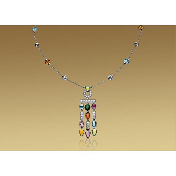 Ожерелье Bulgari Allegra, белое золото, бриллианты, разноцветные камни