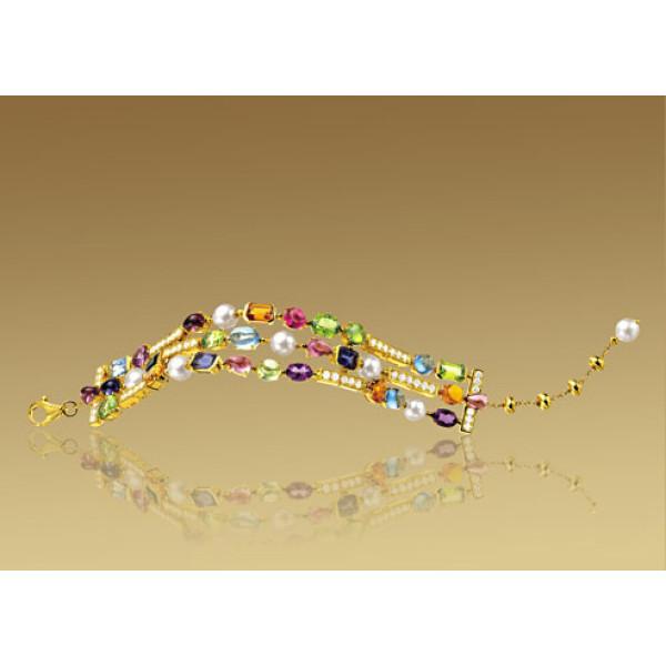 Браслет Bulgari Allegra, желтое золото, бриллианты, разноцветные камни
