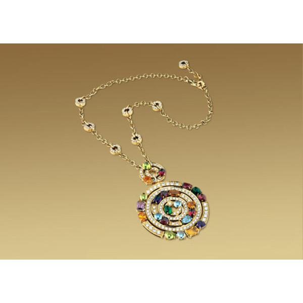 Ожерелье Bulgari Astrale, желтое золото, бриллианты, драг. камни