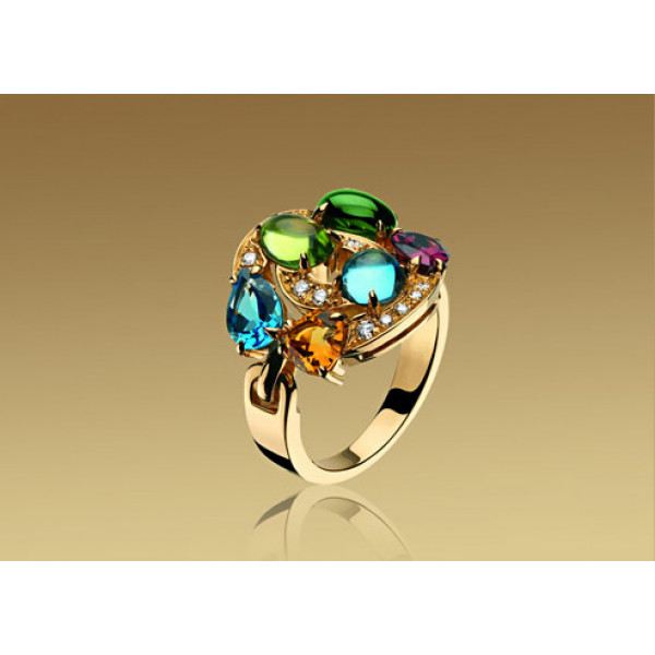 Кольцо Bulgari Astrale, желтое золото, бриллианты, драг. камни
