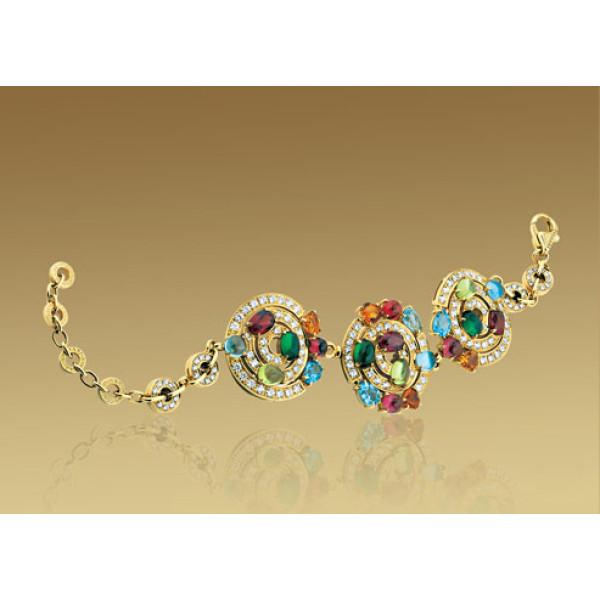 Браслет Bulgari Astrale, желтое золото, бриллианты, разноцветные камни
