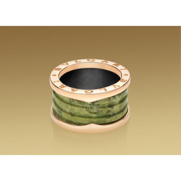 Кольцо Bulgari B.Zero1, розовое золото, зеленый мрамор