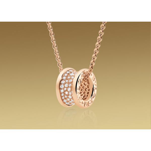 Кулон на цепочке Bulgari B.Zero1, розовое золото, бриллианты