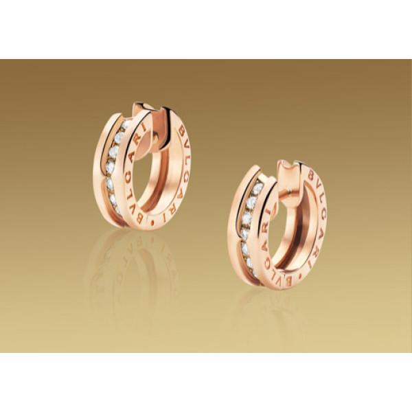 Серьги Bulgari B.Zero1, розовое золото, бриллианты