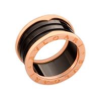 Кольцо Bulgari B.Zero1, розовое золото, черная керамика