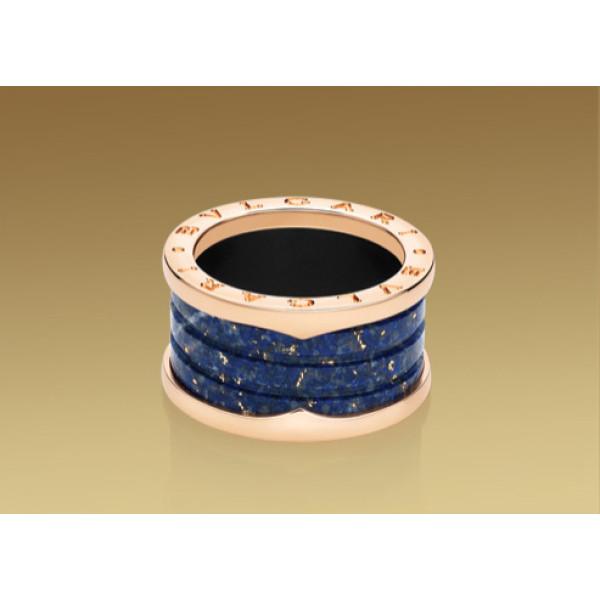 Кольцо Bulgari B.Zero1, розовое золото, голубой мрамор