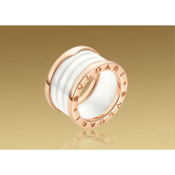 Кольцо Bulgari B.Zero1, розовое золото, белая керамика