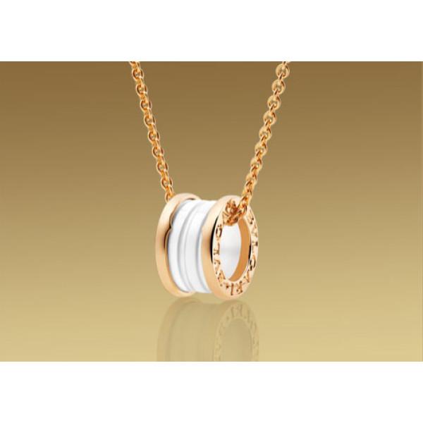 Кулон на цепочке Bulgari B.Zero1, розовое золото, белая керамика