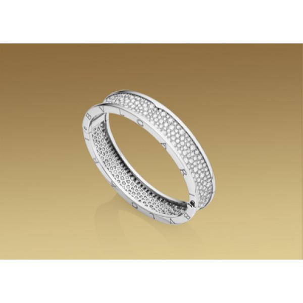 Браслет Bulgari B.Zero1, белое золото, бриллианты
